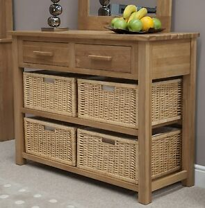 Charmant Image Is Loading Windsor Solid Oak Hallway Furniture Basket Storage Console