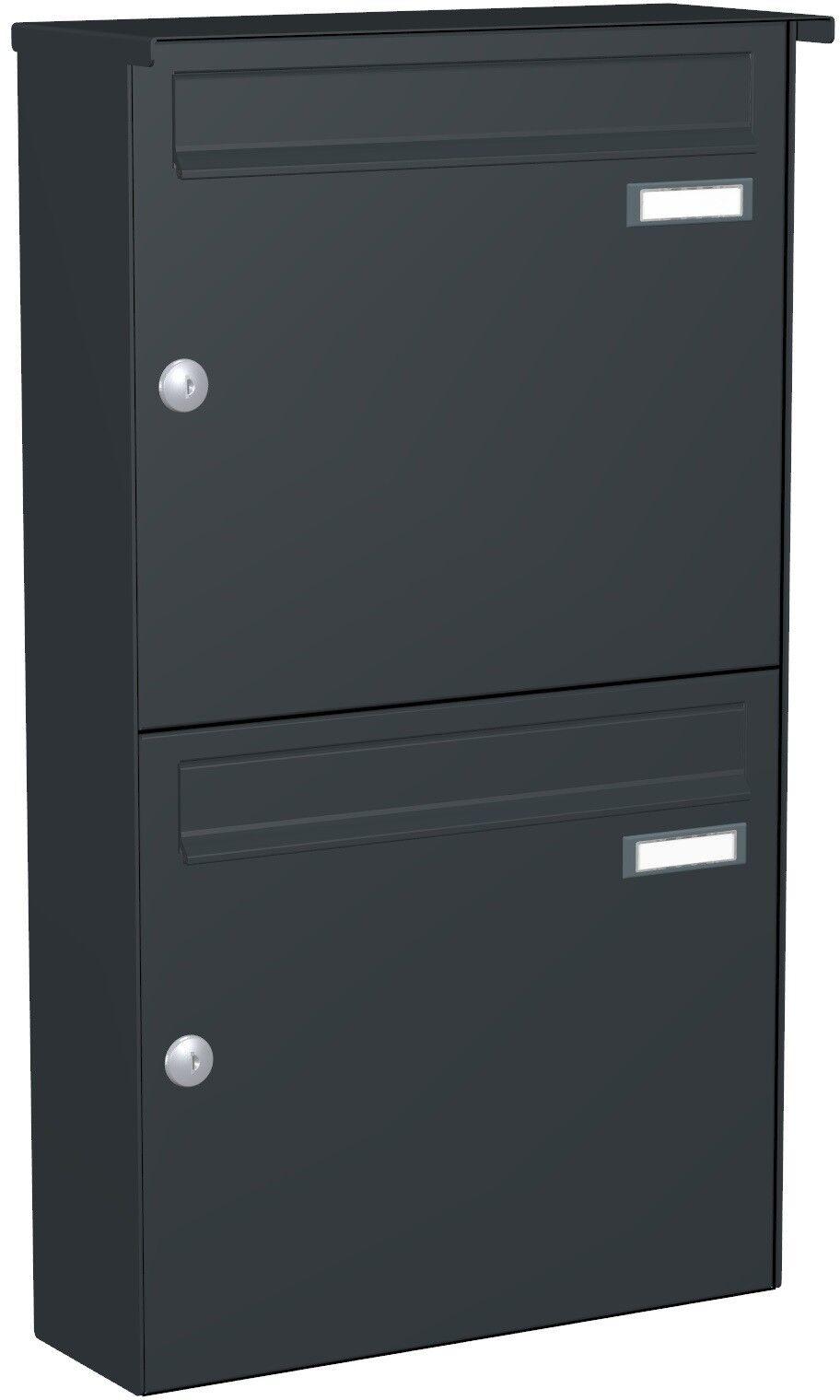 Doppel-Briefkasten Aufputz 2 er 2x Postkasten Wand Farbauswahl oder VA APH111