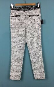 7fe28934 Image is loading Zara-Black-White-Patterned-Contrast-Cigarette-Trousers-XS-