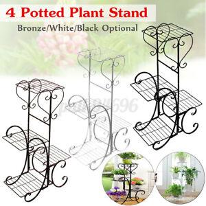 4-TIER-Metal-Shelves-Flower-Pot-Plant-Stand-Display-In-Outdoor-Garden-Detachable