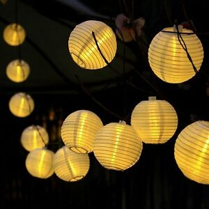 20 led solar lampion lichterkette garten kette party. Black Bedroom Furniture Sets. Home Design Ideas