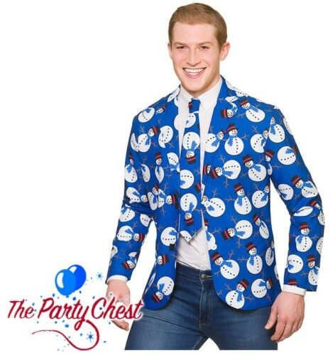ADULT NOVELTY SNOWMAN JACKET AND TIE Christmas Party Fun Fancy Dress Outfit 4644
