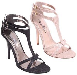 1facdac0075 New Women s T-Strap Ankle Strap High Heel Stilettos w  Glitter ...