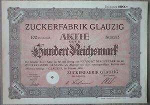 Aktie-Zuckerfabrik-Glauzig-1929-Art-3220