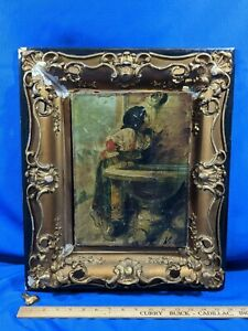 19thC-RARE-Antique-Signed-Painting-Picture-Frame-Gold-Gesso-Shadowbox-Wood-old