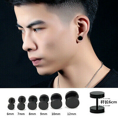 "PAIR 16G 00G 7//16/"" BLACK FLAT DISC ACRYLIC EAR PLUGS FAKE CHEATER GAUGE EARRINGS"