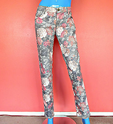 Floral Skinny Jeans S M 8 10 Slim Pants Stretch Low Rise Hippie Boho European