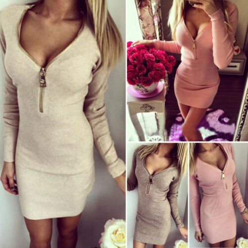 Jersey Plunge Zip V Neck Womens Zipper Bodycon Dress UK STOCK
