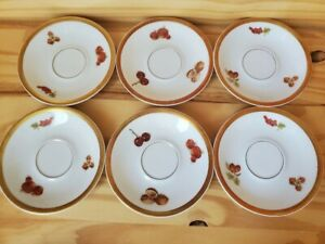 """HARVEST by PMR Bavaria Germany Jaeger Co E&R Set of Six (6) Saucers 4 5/8"""" EUC"""