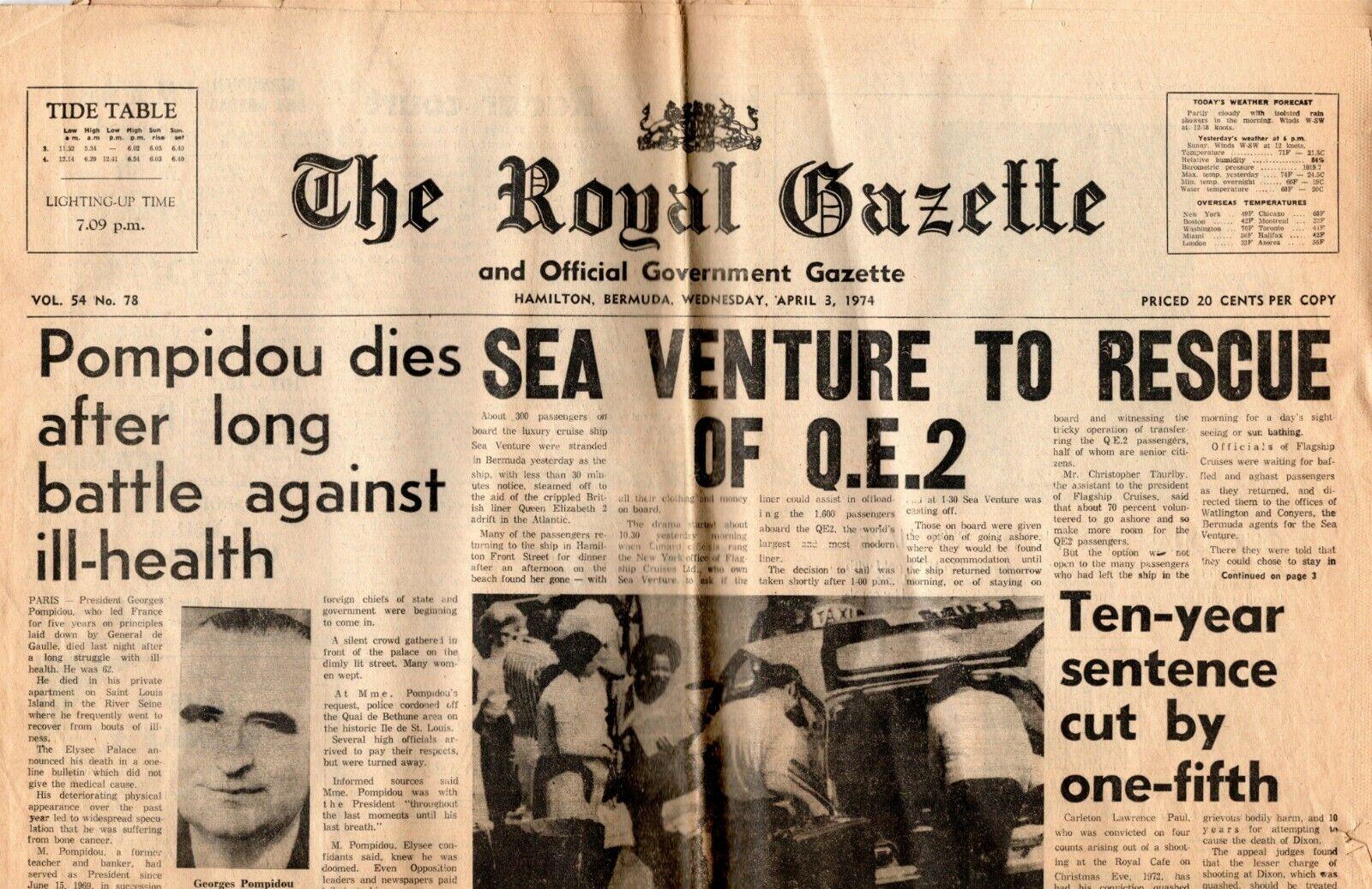 1974 Qe2 Stranding con   Periódicos, Folletos, Letras - Nautiques las Naves