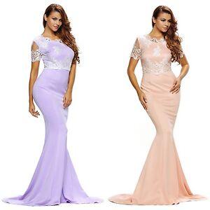 Abendkleid-Ball-Brautjungfern-Verlobung-Meerjungfrau-Damen-Kleid-Spitze-lang