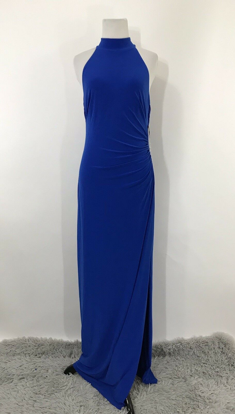Ralph lauren dress halter Blau maxi draped open back side cinched 6  Stretch