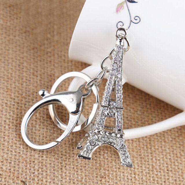 Eiffel Tower Rhinestone Keyring Charm Pendant Purse Bag Key Ring Chains WT
