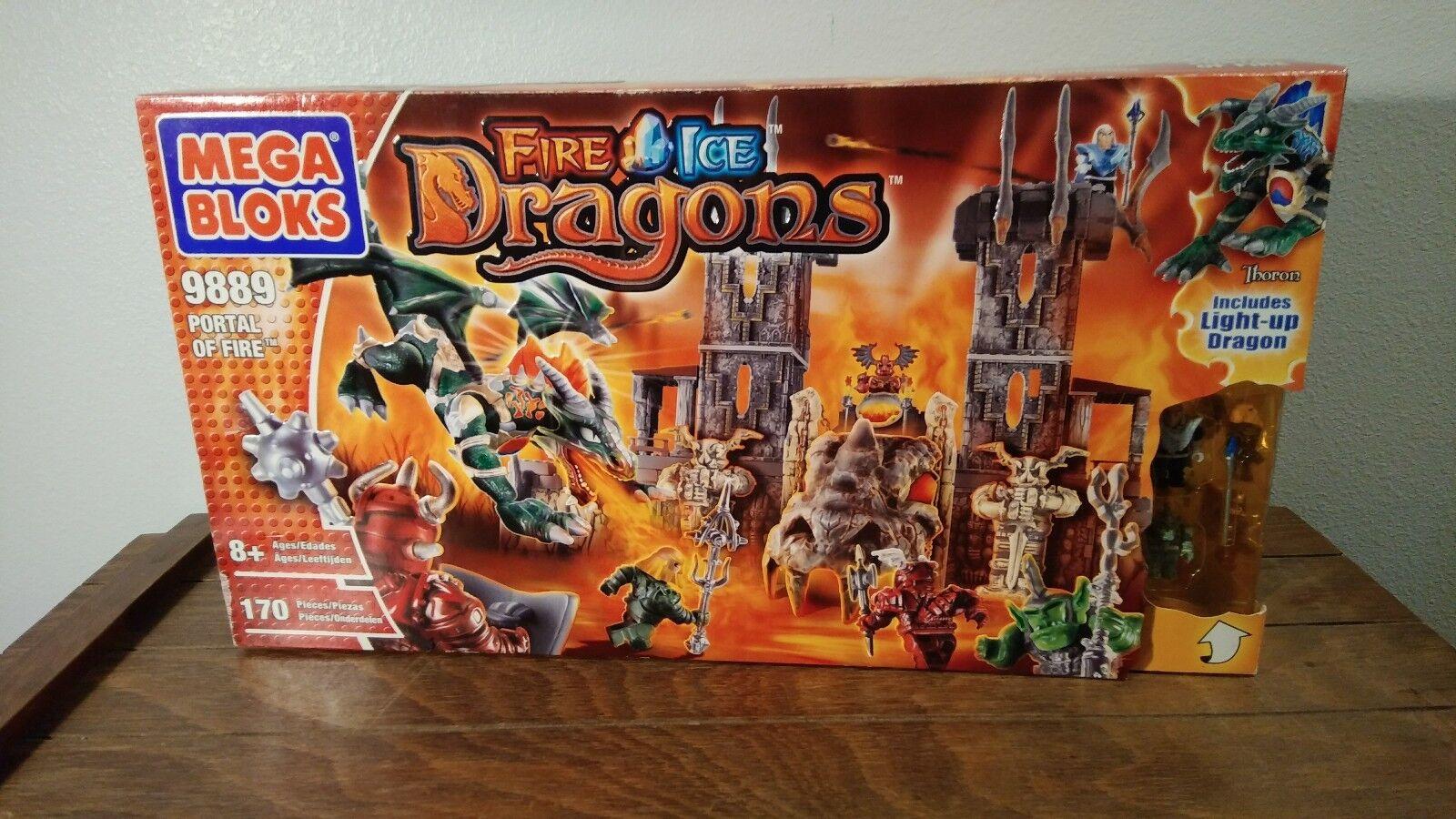 Mega Bloks Fire & Ice Dragons Portal of Fire  9889 NIB FREE SHIPPING