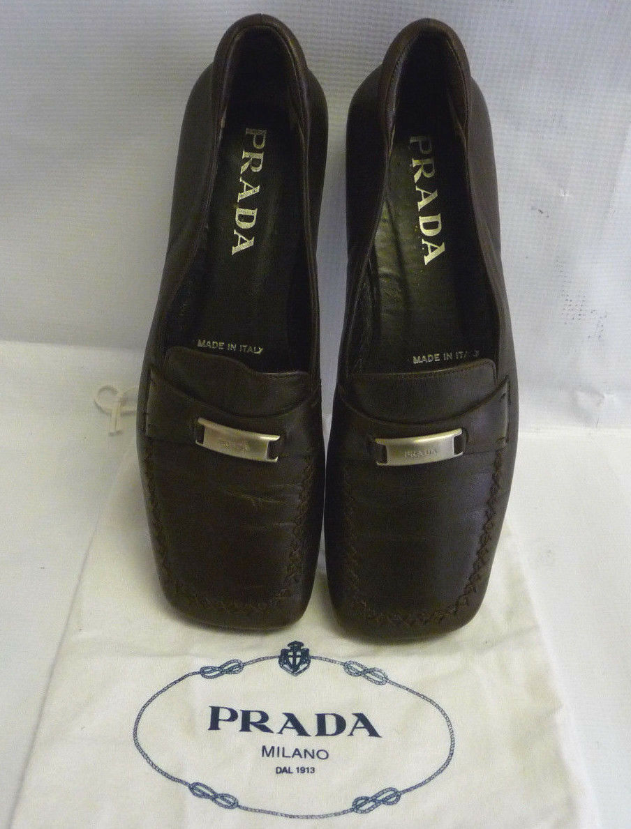 PRADA Womens Flats Size 37.5  / 7.5 Brown Brown Brown Leather Silver Horsebit Italy 2946 28152b
