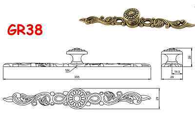 Drawer Door Pull  Handles/Knobs Ornate Antique Patina on Brass Drop Lifting