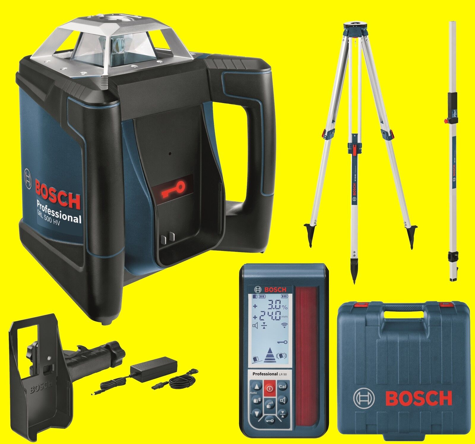 BOSCH Rotationslaser SET GRL 500 HV + LR 50 + Stativ BT 170HD Laser H
