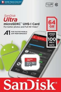 SanDisk-Ultra-64GB-microSDXC-UHS-I-Tarjeta-SD-velocidad-hasta-100MB-s-C10-U1-A1-Nuevo