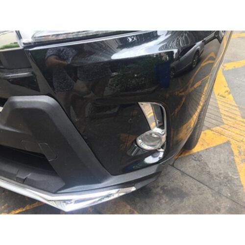 Fits 2017-19 Toyota Highlander Kluger Chrome Front Fog lamp light Cover Decor