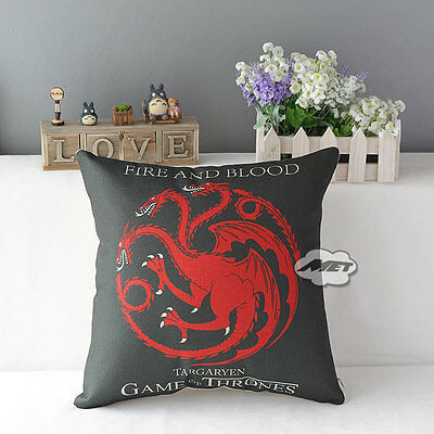 "Game of Thrones Sigils 17"" House Home Decorative Pillow Cushion Cover Case"