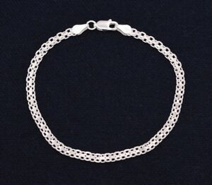 Italian-7-25-034-Diamond-Cut-Bizmark-Bismark-Bracelet-Real-Sterling-Silver-925