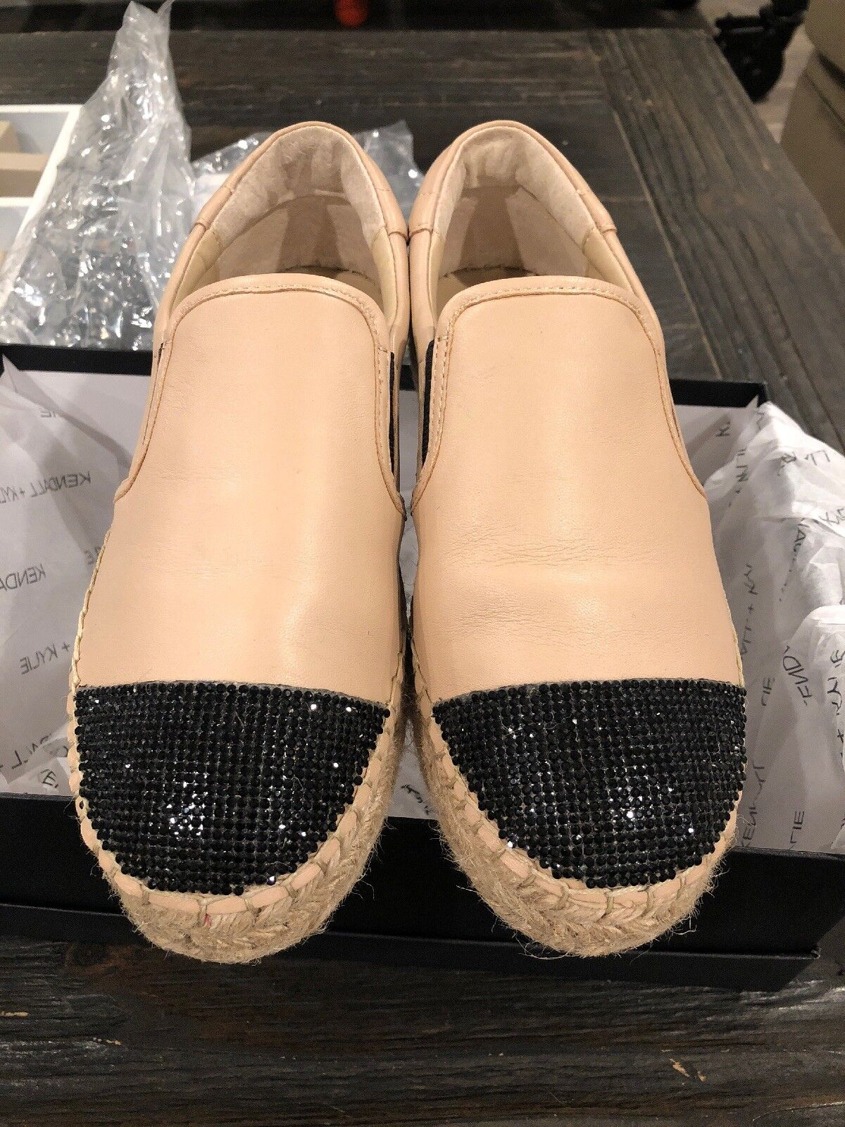 KENDALL and KYLIE Women's Joss Embellished Espadrilles Size 6 Natural Leather