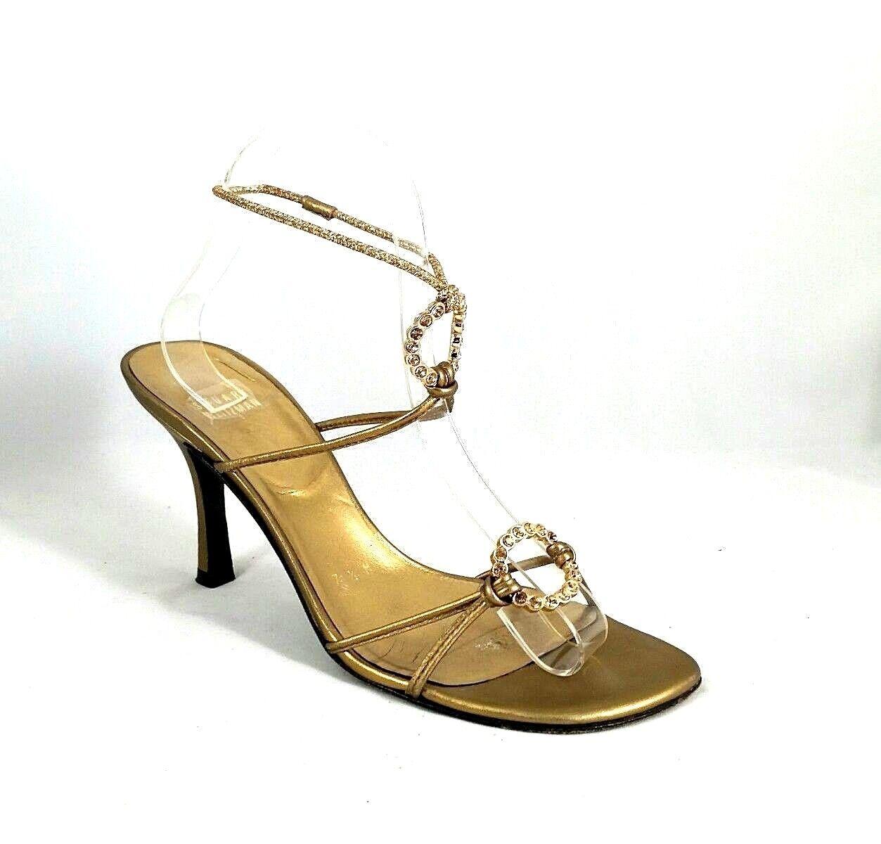 fino al 50% di sconto Stuart Weitzman Sandal oro 7.5 Open Toe Slim Heel Ankle Ankle Ankle Strap O Ring Crystal  marchi di stilisti economici