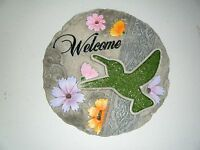 Welcome Stepping Stone With Humming Bird 9.5 Inches Round