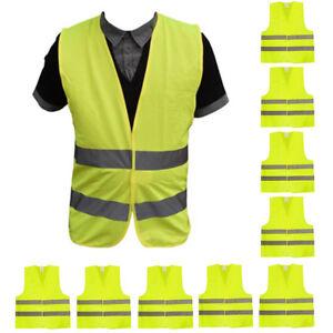 10-Stueck-Warnweste-Unfallwesten-Neon-Gelb-Sicherheitswarnweste-Warnwesten-KFZ