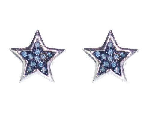 10k White Gold Mens Ladies 7mm Blue Genuine Diamond Star Stud Earrings 1//20ct