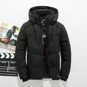 Men-039-s-Duck-Down-Jacket-Ski-Jacket-Snow-Hooded-Coat-Climbing-Oversize-Black-2XS