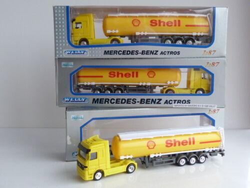 Welly Lot de 3 camions MERCEDES BENZ ACTROS avec remorques SHELL à l/'échelle HO