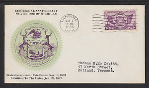 US-Planty-775-18-FDC-1935-3c-Michigan-Centenary-Hubbard-Cachet