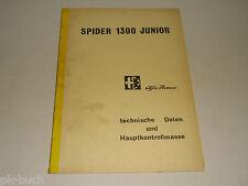 Werkstatthandbuch Technische Daten Prüfwerte Alfa Romeo Spider 1300 Junior