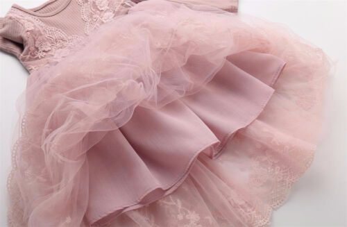 Girls Pink Lace /& Satin Tulle Dress Wedding Princess Special Occasion 90-140cm