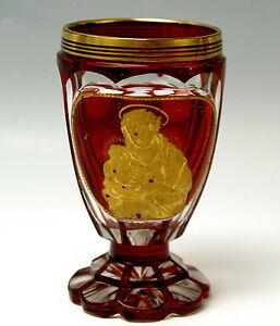 BIEDERMEIER-BECHER-BOHMEN-GESCHLIFFEN-RUBINROT-BOHEMIAN-BEAKERS-CUPS-UM-1870