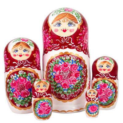 Russian Traditional Nesting Doll w// Floral Pattern Hand Painted in Russia 5 pcs