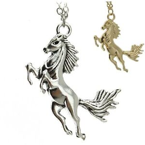 Pferd-Anhaenger-Stute-Hengst-Kette-Halskette-gold-oder-silber-farbig
