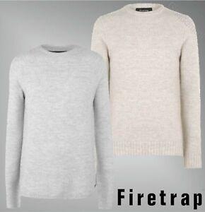 Cuello-redondo-para-hombre-Firetrap-manga-larga-Jersey-de-punto-con-textura-tamanos-de-S-a-XXL