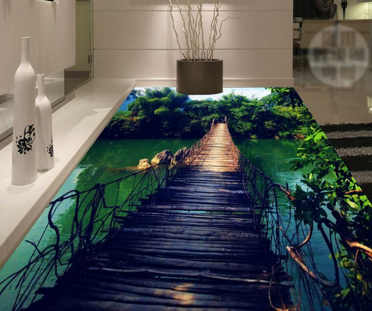 3D Landscape Bridge  Floor WallPaper Murals Wall Print Decal 5D AJ WALLPAPER