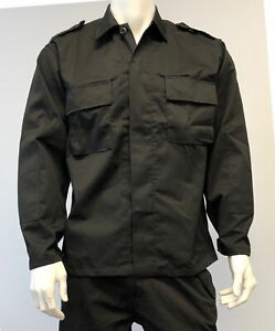 Mens-Military-Battle-Dress-Uniform-BDU-Shirt-Tactical-Security-Jacket-Black