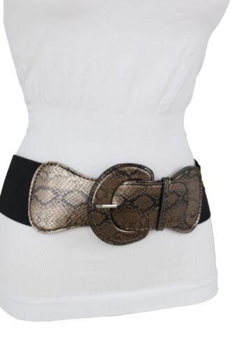 Women Wide Black Hip Hop Style Elastic Belt Bronze Faux Snake Skin Print M L XL
