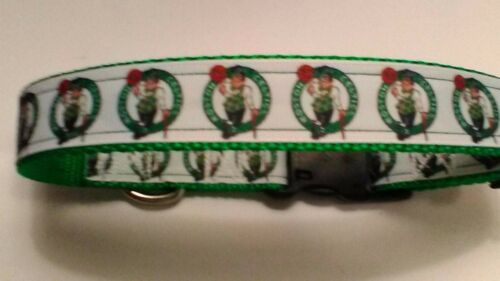Handmade Boston Celtics dog collar adjustable nylon