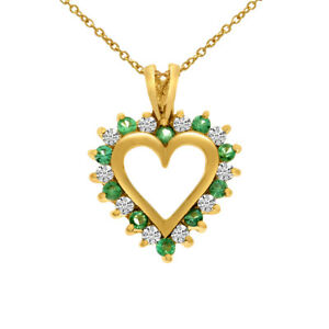 14k yellow gold emerald and diamond heart shaped pendant with 18 image is loading 14k yellow gold emerald and diamond heart shaped aloadofball Images