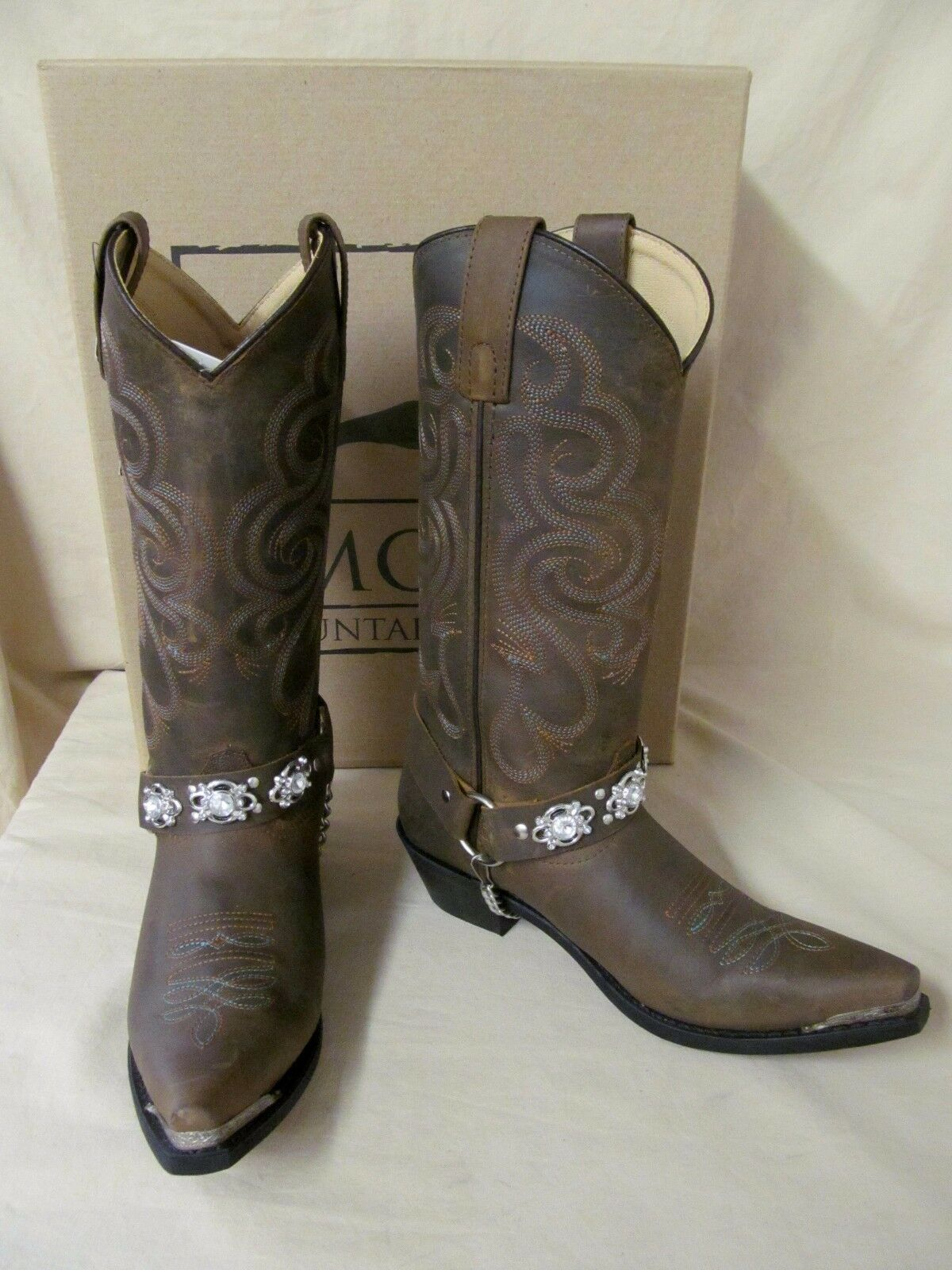 Women's 8.5 M Smoky Mountain Arroyo Grande Brown Leather Bling Western Boots