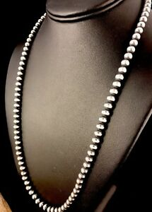 """Native American Navajo Pearls 5 mm Sterling Silver Bead Necklace 28""""Sale  328"""