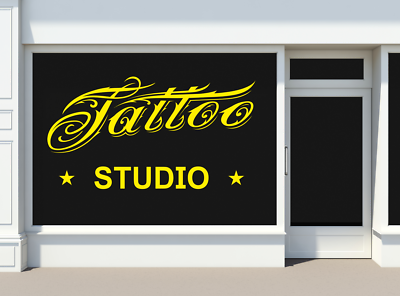 "small 8x5/"" tattoo shop window door sign vinyl graphic decal wall art sticker ink"