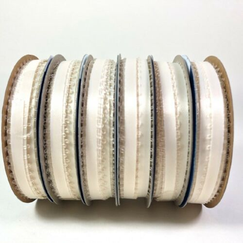 """Offray Spool O/' Ribbon Ivory White 10 Yards 1//4/"""" Wide100/% Polyester 6 Rolls"""