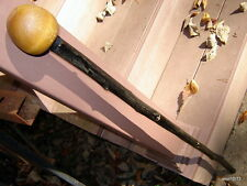 sturdy black Knotty-Hickory SHILLELAGH/walking-stick/cane~signed faux-blackthorn