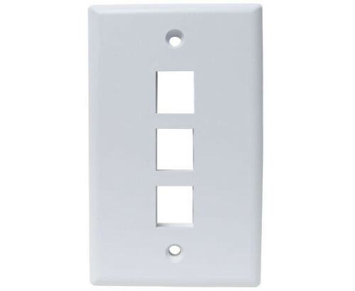 25 Pack #WP2-065//3P//WH Ethernet Wall Plate 3-Port White